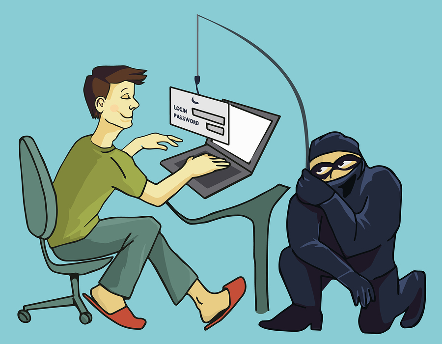 cartoon image shows how someone tries to steal your password
